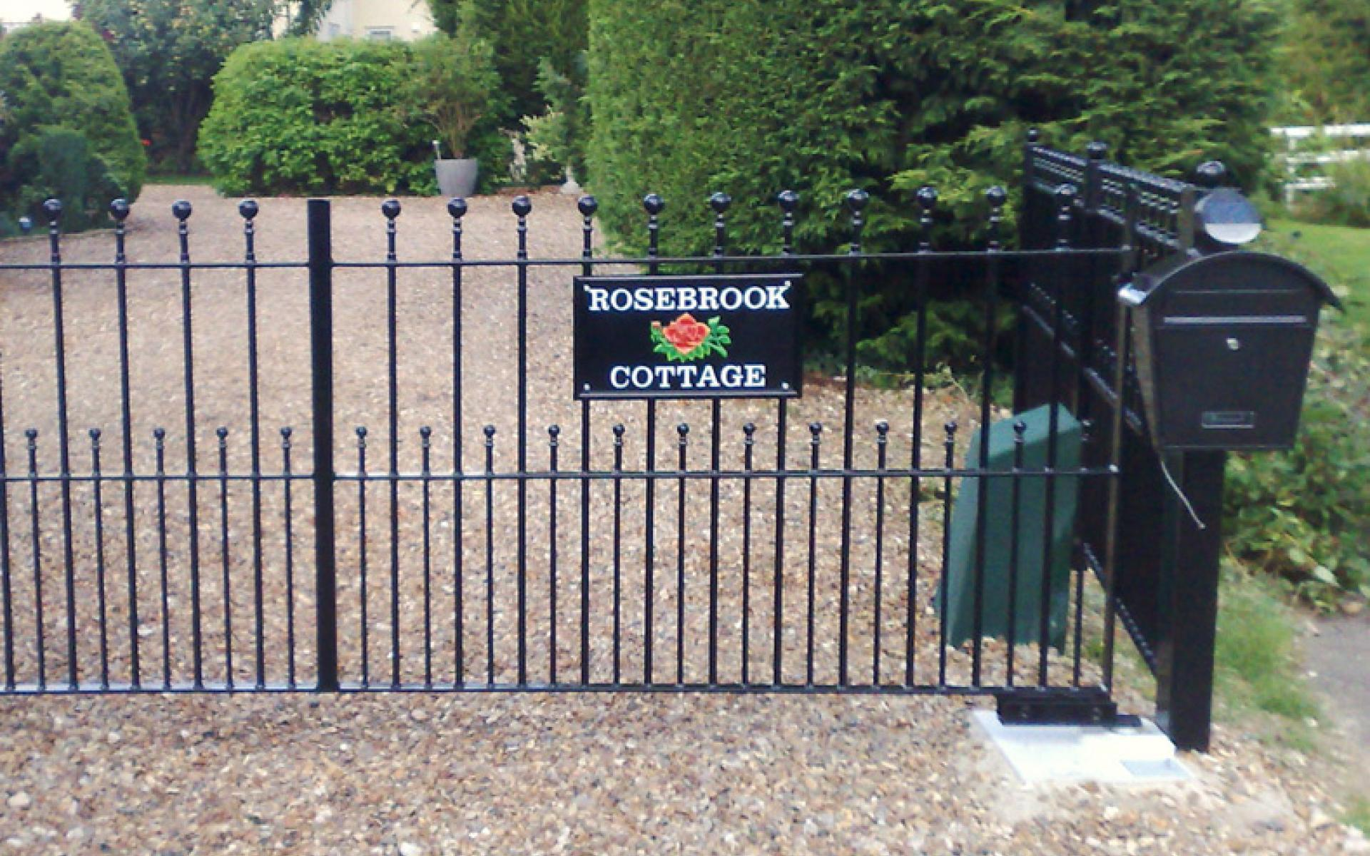 Rosebrook wrought iron gate and railings with underground automation