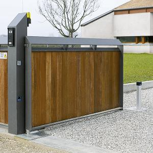 Contemporary wooden gate with underground automation