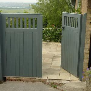 Painted wooden garden gates (Courtesy of Automation Gates Services & Repairs Ltd)